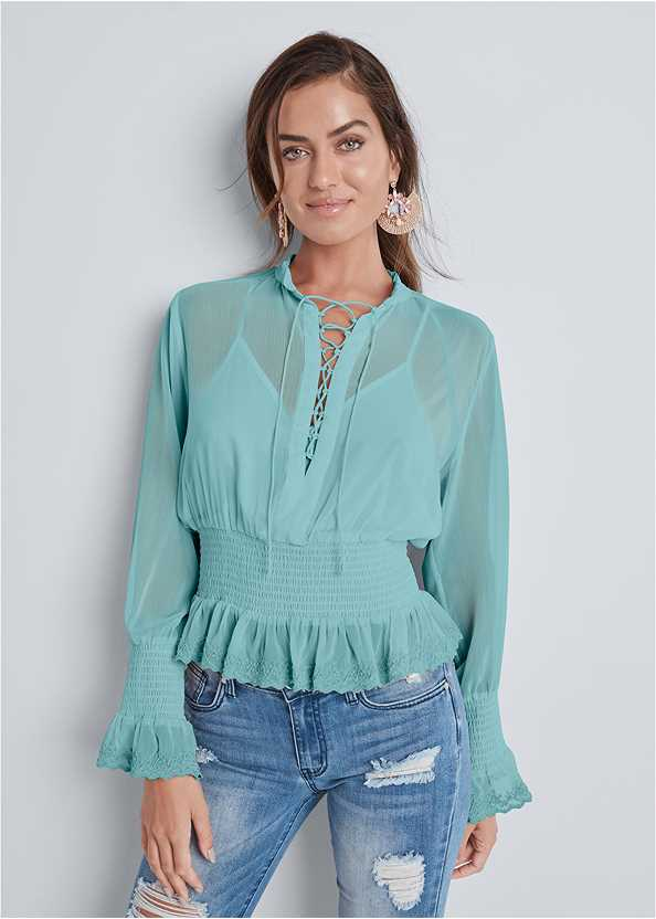 Smocked Lace Up Blouse,Triangle Hem Jeans,Lucite Ankle Wrap Wedge,Faux Leather Jewel Earring