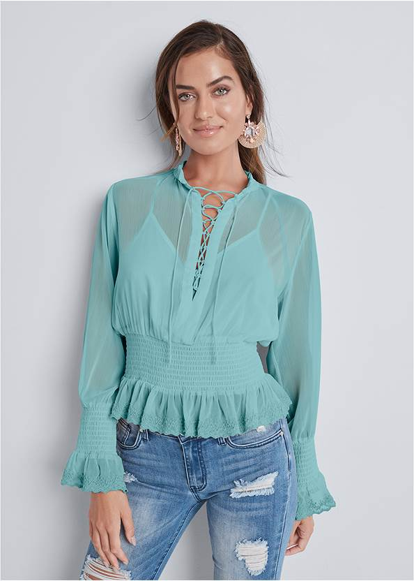 Smocked Lace Up Blouse,Lucite Ankle Wrap Wedge