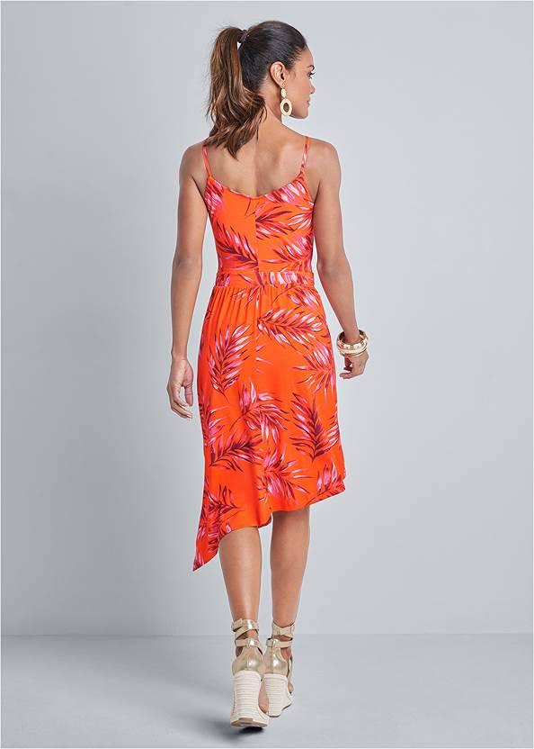 Back View Palm Leaf Asymmetrical Dress