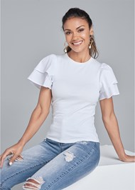 Front View Flutter Sleeve Top