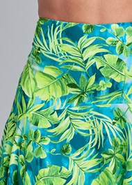 Detail front view Palm Print High Low Skirt