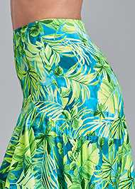 Detail side view Palm Print High Low Skirt