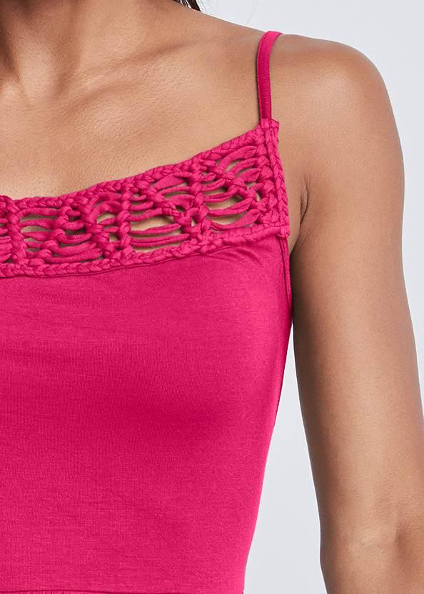 Detail front view Crochet Trim Handkerchief Hem Top
