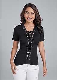 Front View Lace Up Grommet Top