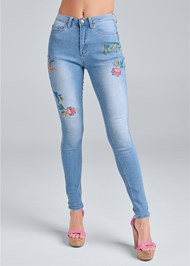 Front View Floral Embroidered Skinny Jeans