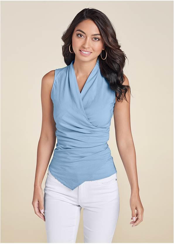 Surplice Detailed Top,Color Capri Jeans,Lucite Ankle Wrap Wedge