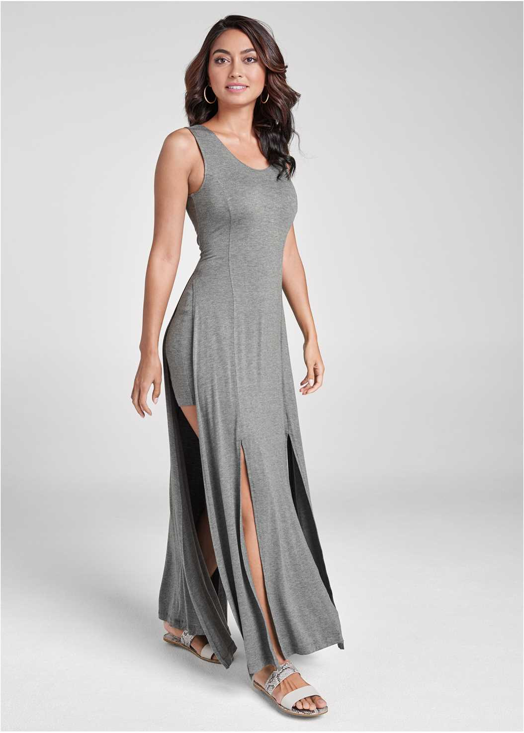 High Slit Casual Maxi Dress,Double Strap Printed Sandal