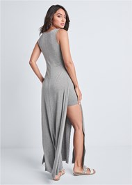 Back View High Slit Casual Maxi Dress