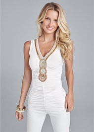 Cropped front view Embellished Neckline Top