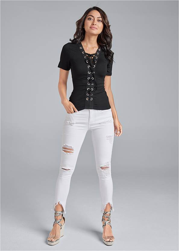 Alternate View Lace Up Grommet Top