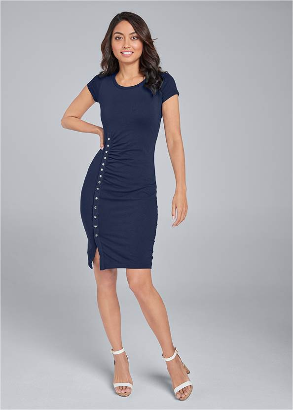 Alternate View Snap Front Casual Dress