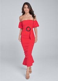 Front View Off Shoulder Ruched Dress