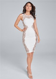 Alternate View Embroidered Bodycon Dress