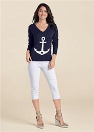 Alternate View Anchor V-Neck Sweater
