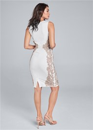 Back View Embroidered Bodycon Dress