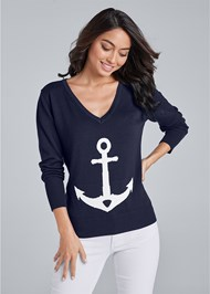 Front View Anchor V-Neck Sweater