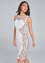 Front View Embroidered Bodycon Dress