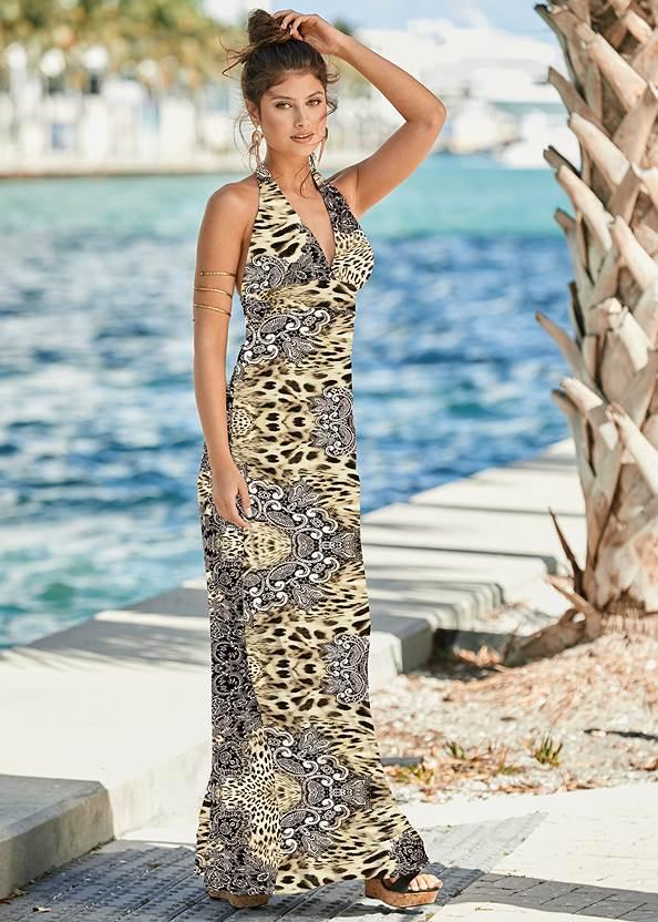 Leopard Halter Maxi Dress,Jewel Toe Loop Lucite Sandals,Rhinestone Thong Sandals,Beaded Block Heels,Tiger Detail Earrings