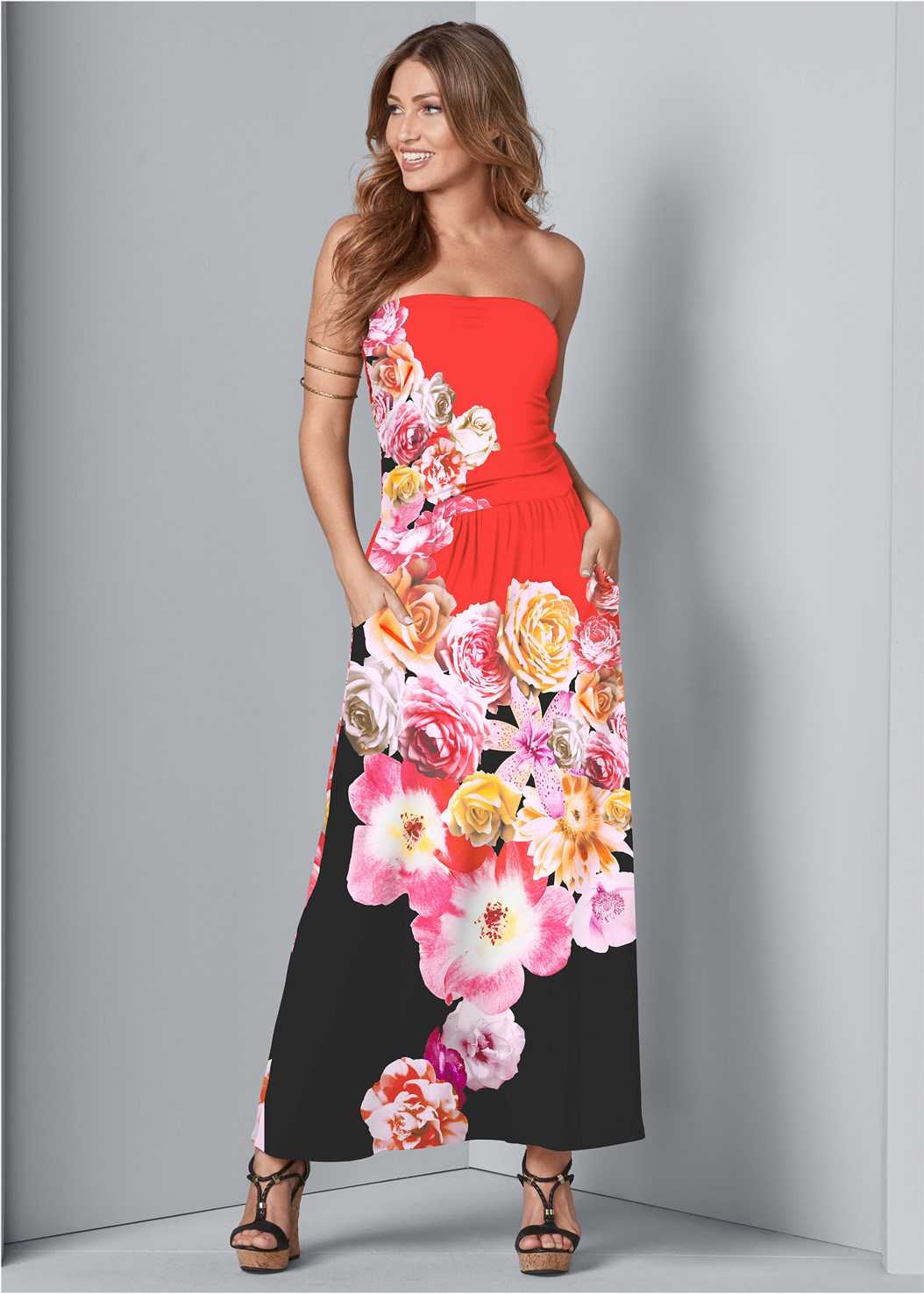 Strapless Print Maxi Dress,Strapless Bra With Geo Lace,Double Strap Cork Wedge,Hoop Earrings