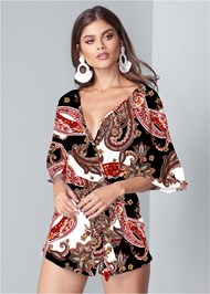 Cropped Front View Casual Paisley Print Romper