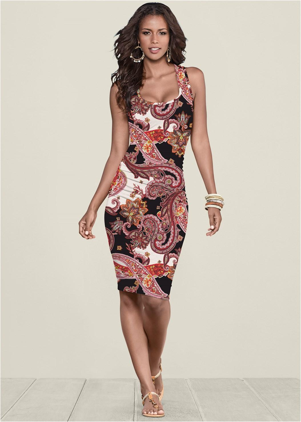 Ruched Print Tank Dress,Seamless Unlined Bra,Sleeveless Ruched Bodycon Midi Dress,Rhinestone Thong Sandal,Tassel Hoop Earrings,Hoop Earrings,Animal Print Bangle Set