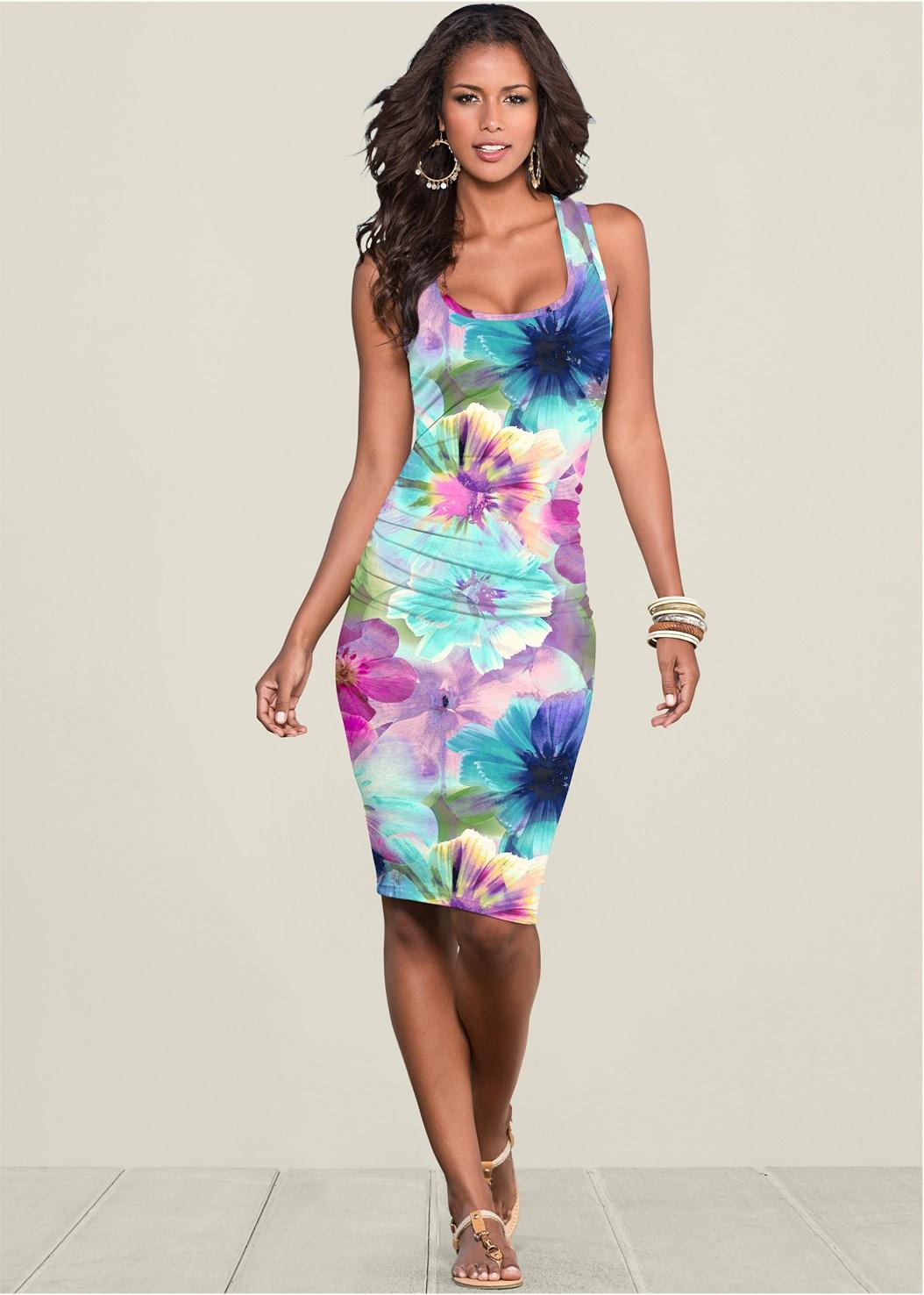 Ruched Print Tank Dress,Seamless Unlined Bra,Rhinestone Thong Sandal,Hoop Earrings