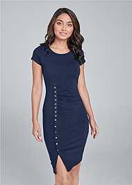 Front View Snap Front Casual Dress