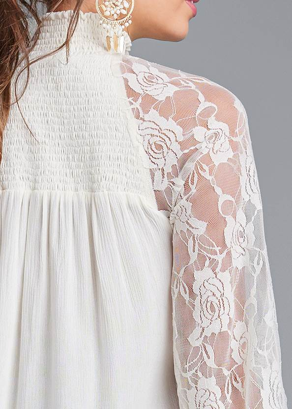 Detail back view Lace Sleeve Smocked Top