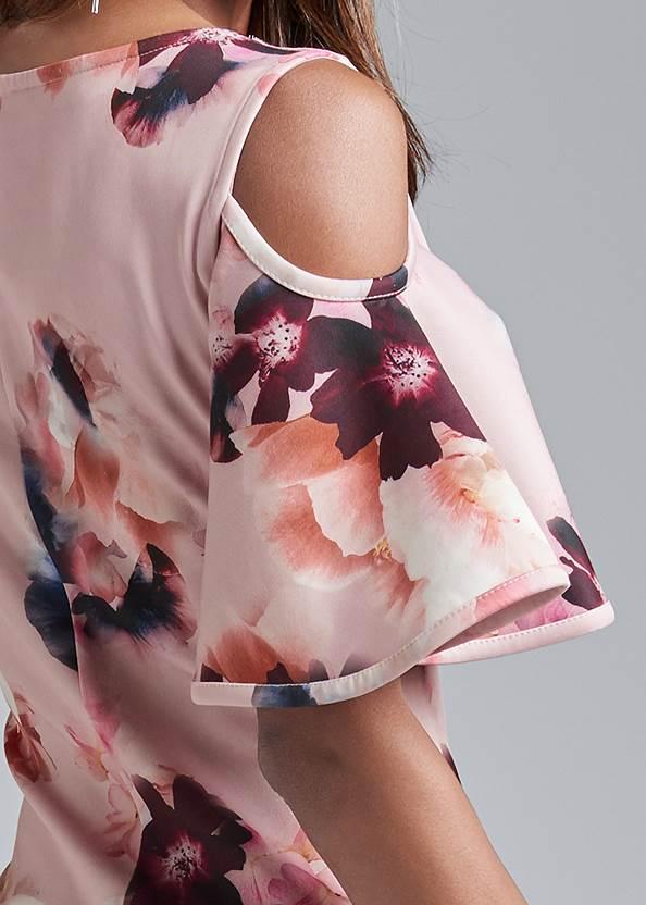 Detail back view Cold Shoulder Floral Dress