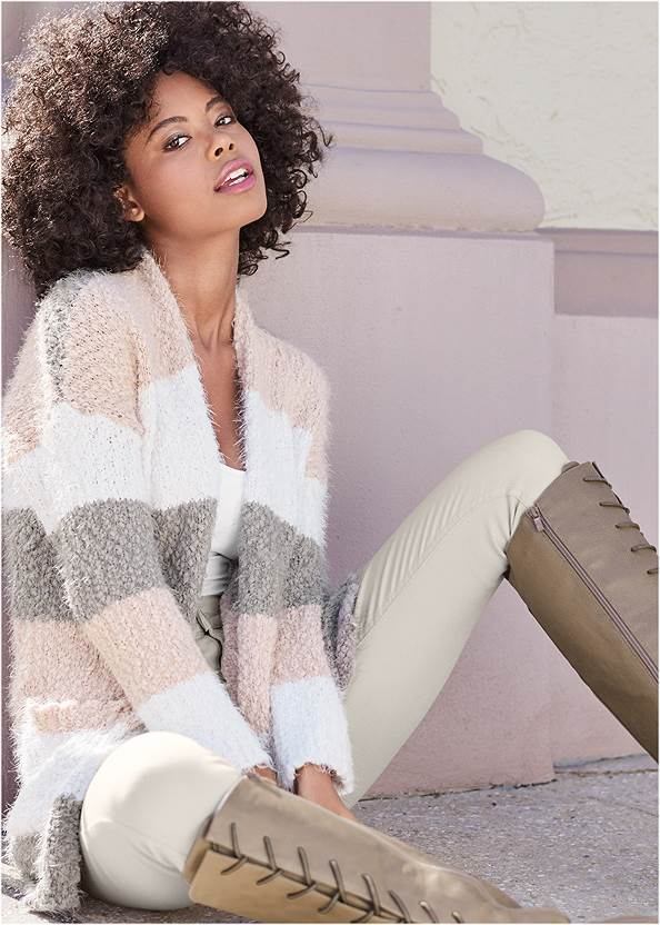 Cozy Striped Cardigan,Basic Cami Two Pack,Triangle Hem Jeans