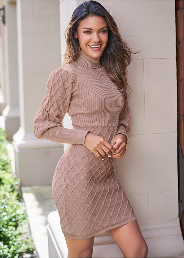Puff Detail Sweater Dress,Peep Toe Booties,Statement Earring Set,Rhinestone Clutch