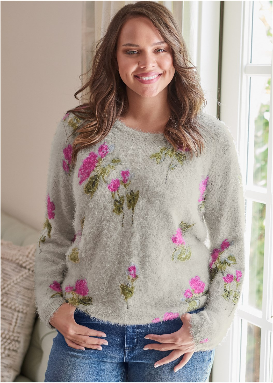 Floral Cozy Sweater,Casual Bootcut Jeans