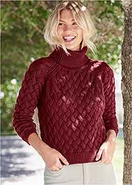 Front View Cable Knit Turtleneck
