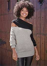 Full Front View One Shoulder Sweater