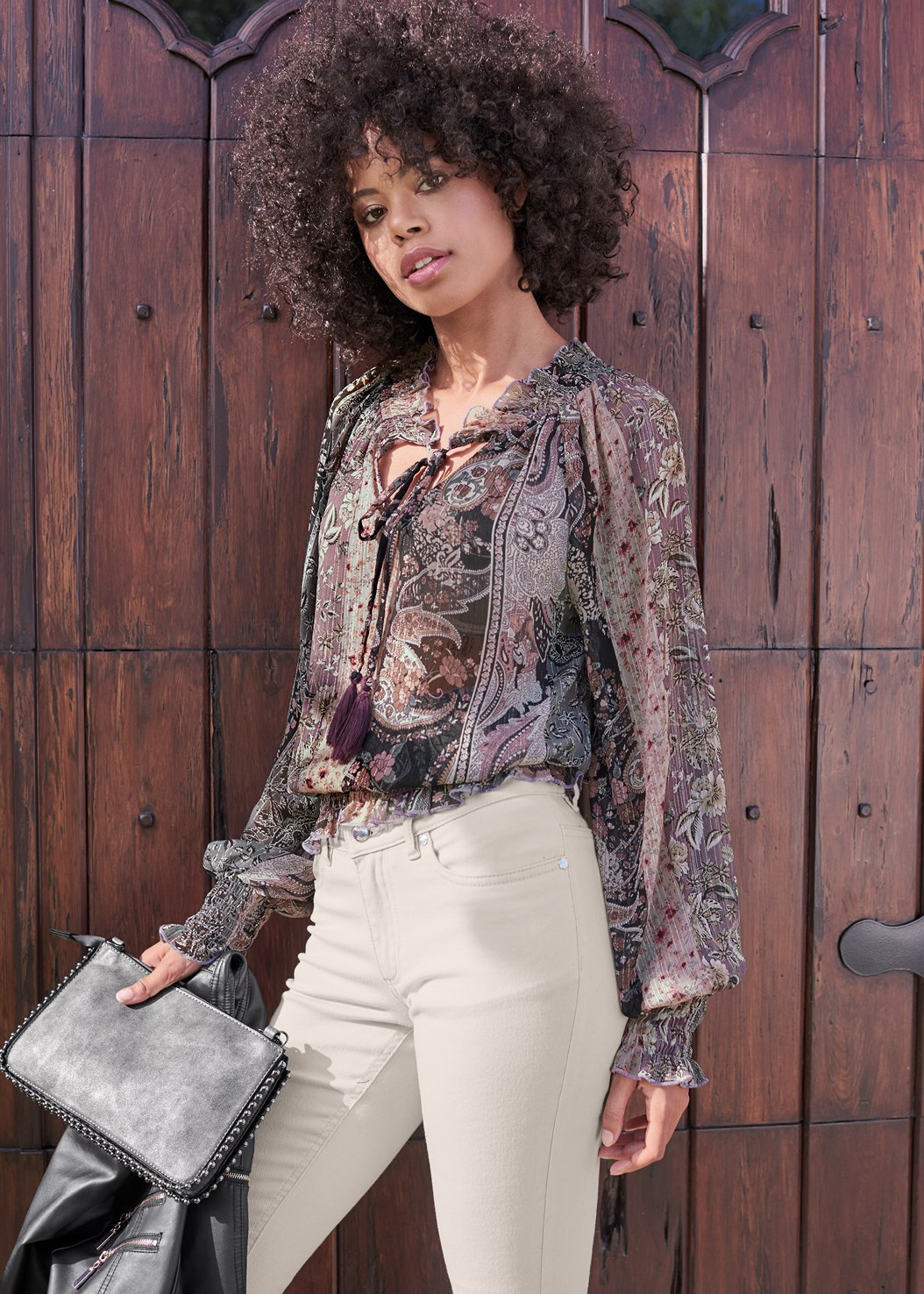 Paisley Print Top,Mid Rise Color Skinny Jeans,Faux Leather Lace Up Jacket,Studded Chain Strap Bag