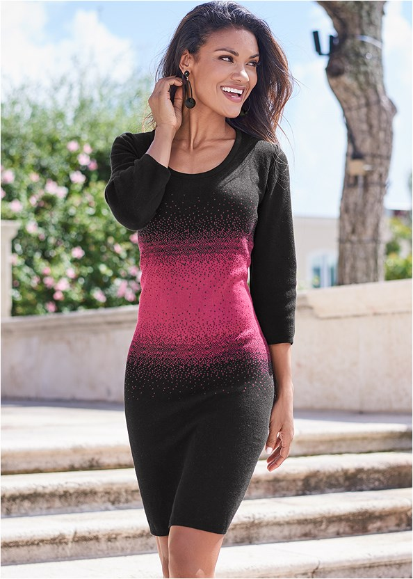 Ombre Sweater Dress,Peep Toe Booties,Bauble Hoop Earrings