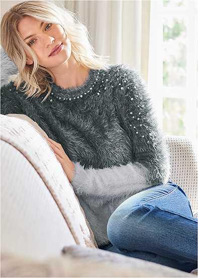 Cozy Pearl Trim Sweater