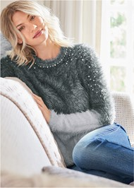 Detail front view Cozy Pearl Trim Sweater
