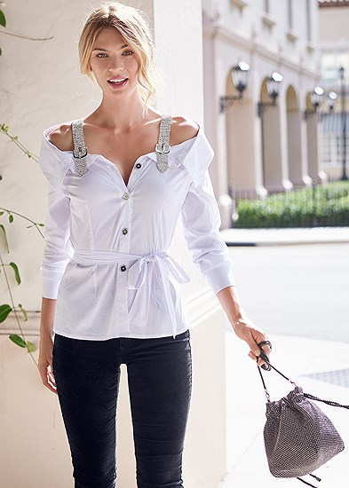 Off Shoulder Rhinestone Top