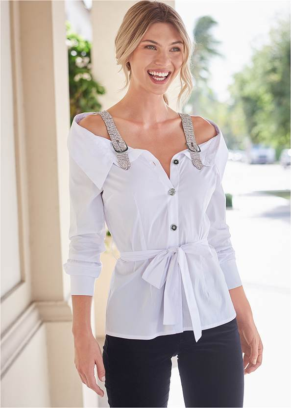 Cropped Front View Off Shoulder Rhinestone Top