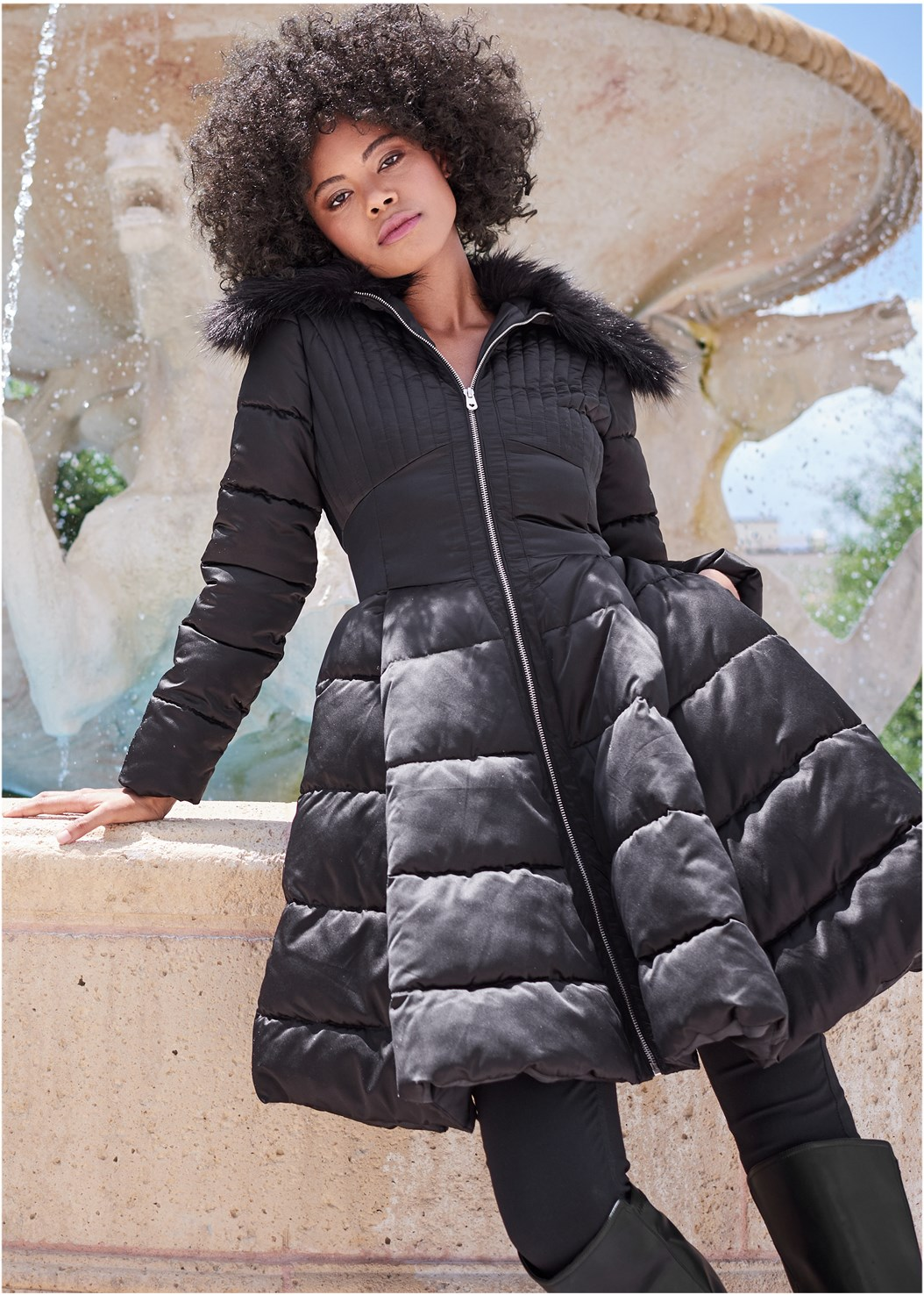 Peplum Puffer Jacket,Mid Rise Slimming Stretch Jeggings,Off The Shoulder Top,Mid Rise Color Skinny Jeans,Full Figure Strapless Bra,Knee High Block Heel Boot,Tie Back Boots,Slouchy Layered Strap Boots