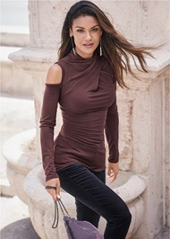Cropped front view Mock Neck Top