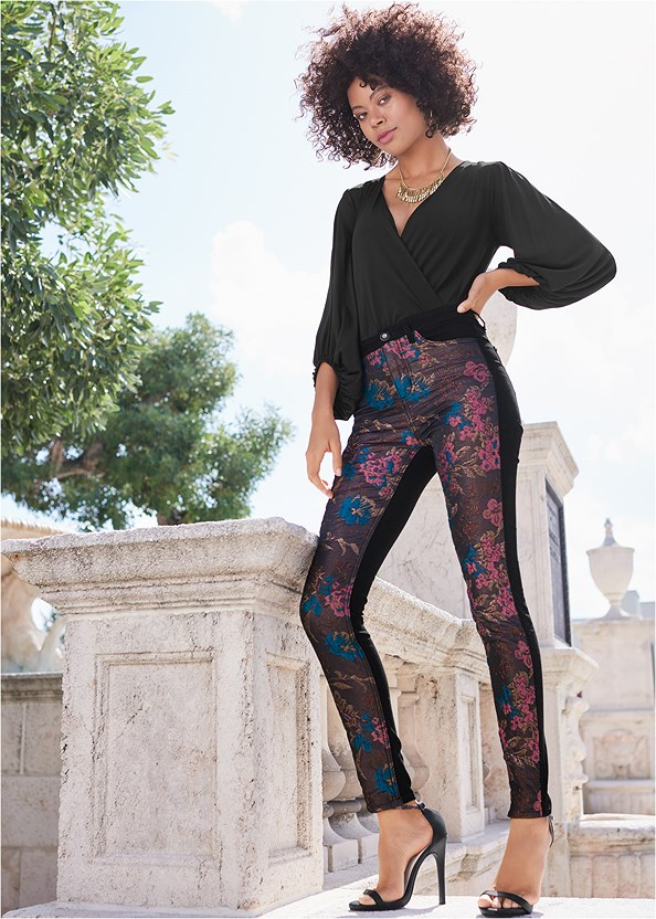 Brocade Skinny Jeans,Surplice Bodysuit,Off The Shoulder Top,Ankle Strap Heels,High Heel Strappy Sandals,Rhinestone Fringe Necklace