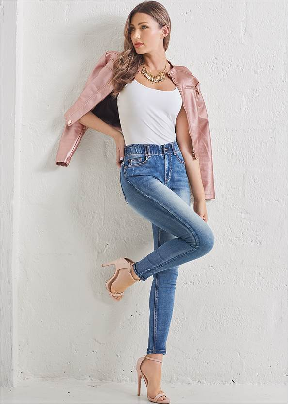 Elastic Waistband Jeans,Basic Cami Two Pack,Lace Cami,Faux Leather Lace Up Jacket,High Heel Strappy Sandals,Mixed Earring Set