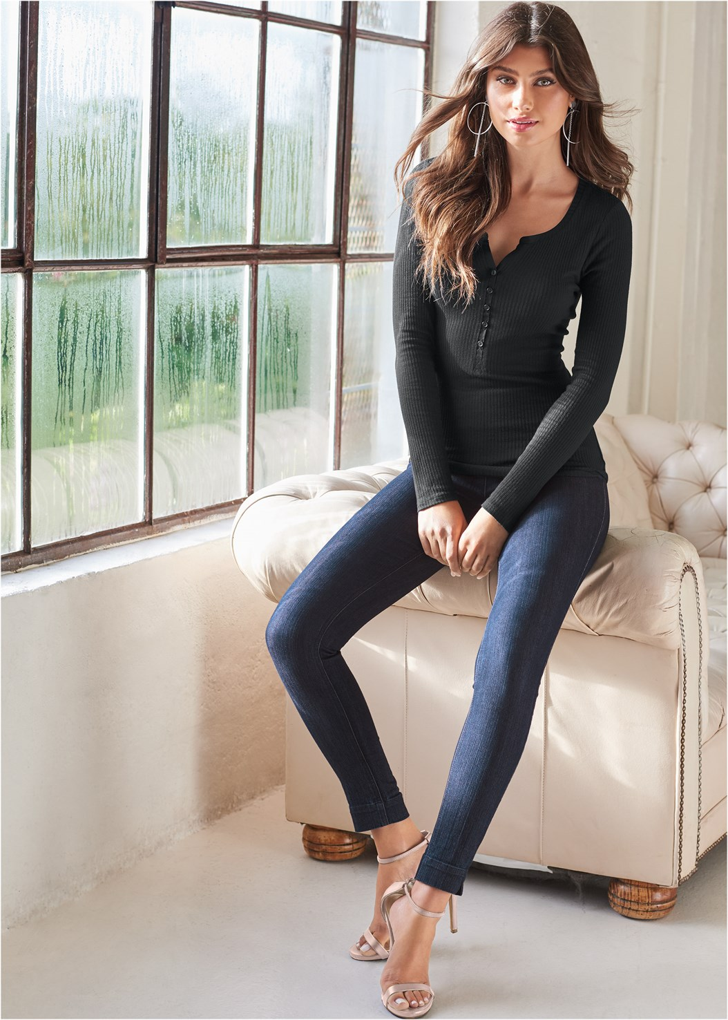 Ribbed Henley Top,Color Skinny Jeans,Buckle Riding Boots