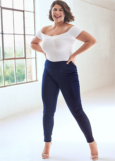 Plus Size Mid Rise Slimming Stretch Jeggings