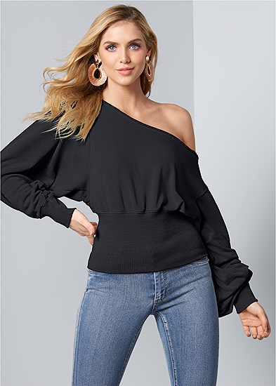 Plus Size Off The Shoulder Sweatshirt