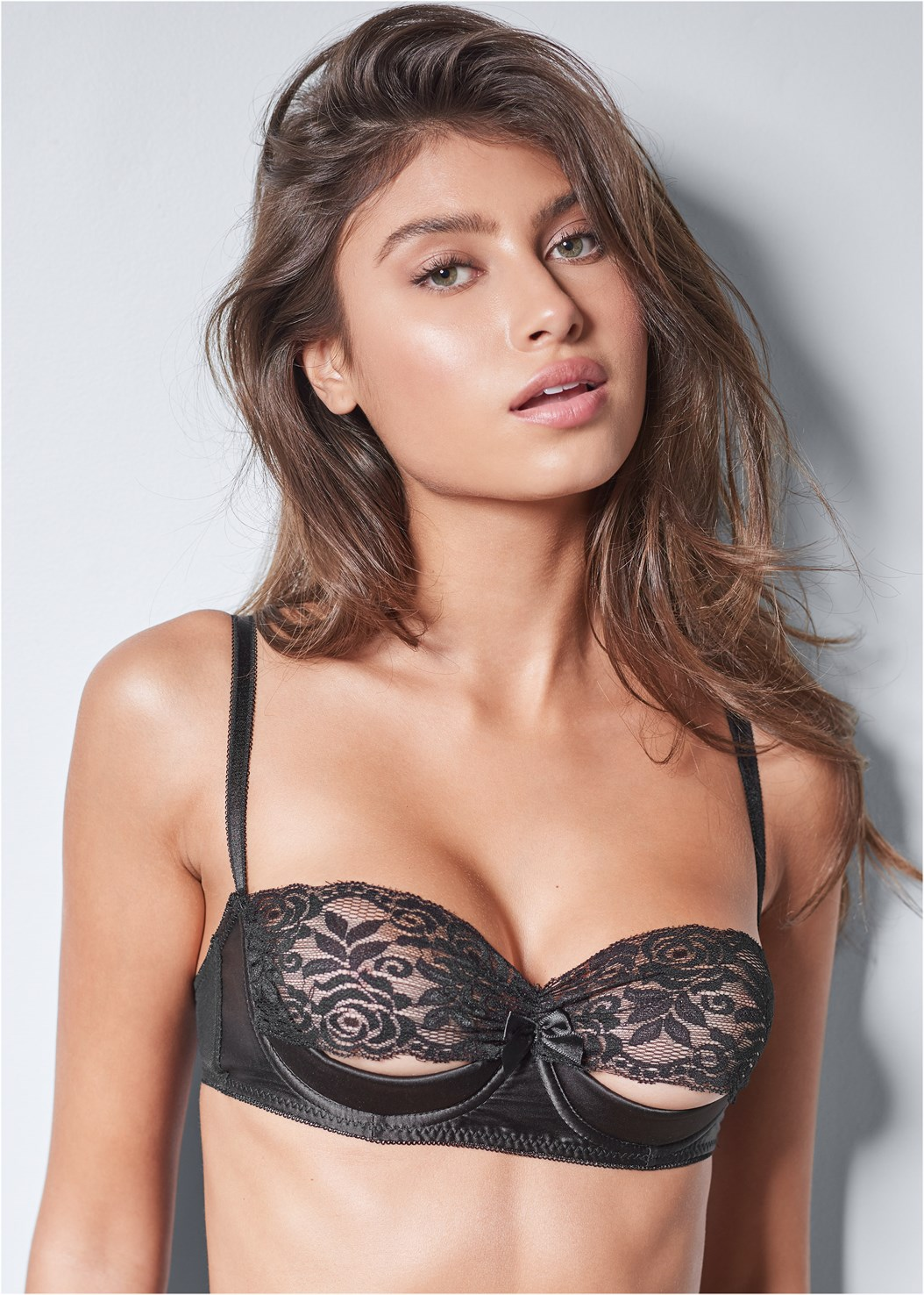 Unlined Lace Cut Out Bra