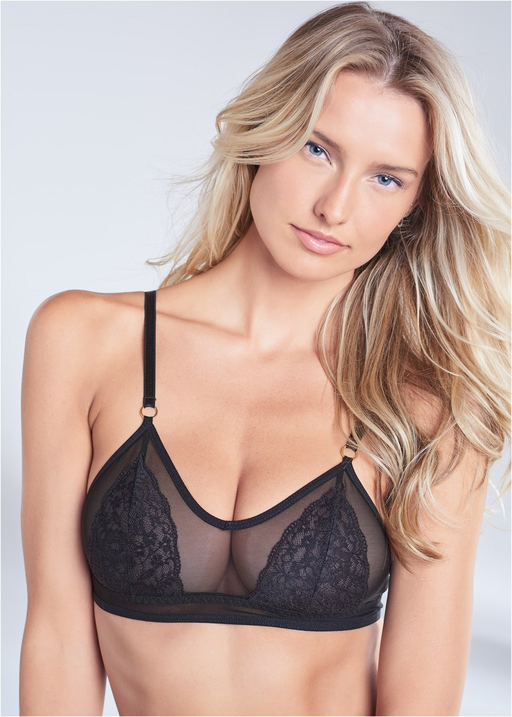 Triangle Bralette,Lace Thong 3Pk