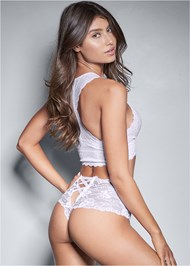 Cropped back view Open Lace Thong